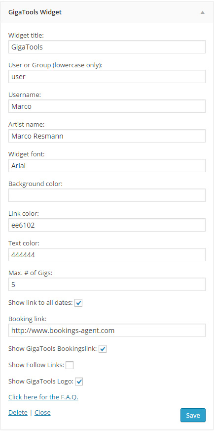 GigaTools Widget example settings
